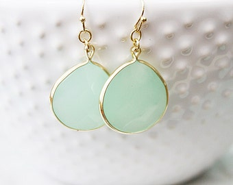 Gold Framed Mint Teardrop Earrings . Bridesmaid Gift Bridesmaid Earrings Dainty and Delicate Necklace