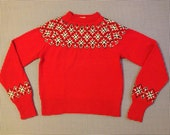 1970's, hand knit, wool, Scandinavian sweater, in red, black and white, Men's size Small, Women's size Medium