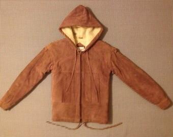 1980's, fleece lined, hooded, zip front, suede jacket, in nutmeg, Women's size 5/6