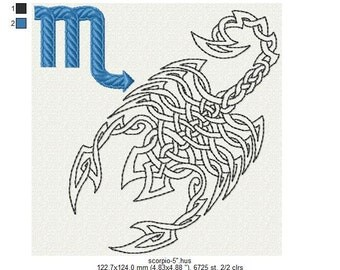 """Zodiac sign Scorpio machine embroidery design 4"""", 5"""", 6"""" hoop. All formats. Instant download."""