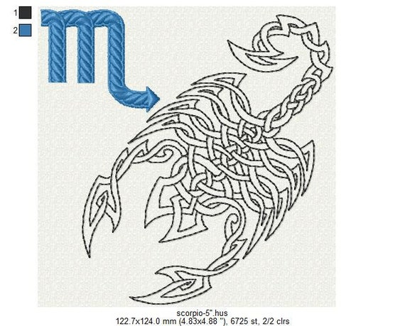 Zodiac sign scorpio machine embroidery design quot