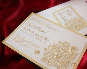 East Indian Wedding invitation with Henna & Pearls