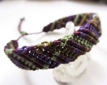 Purple Eggplant Green olive and Khaki Macrame Friendship Bracelet Handmade Surf/Bohemian wristband