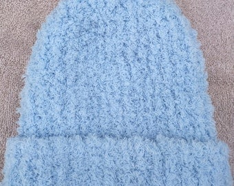 Hand Knit Fuzzy Blue Baby Hat - Toddler