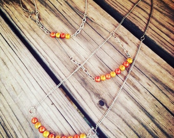 3 - Piece Set with Orange Metal Beads - 2 Necklaces & Bracelet with custom chains