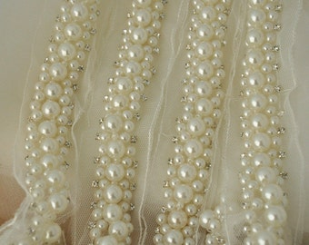 Pearl Beaded Lace Trim with Rhinestones, Crystals