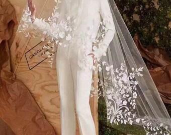 Exquisite Bridal Lace Trim , Wedding Veil Lace Trim, Floral Embroidery Lace Trim