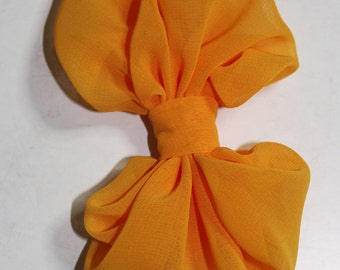 "1 pc - Golden Yollow 4.5"" (110mm) PLAIN chiffon bow for baby hair accessory supply [ BCH-133]"