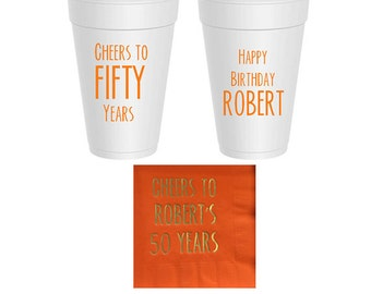 Custom Beverage Napkins and 16oz Styrofoam Cups, 100 count