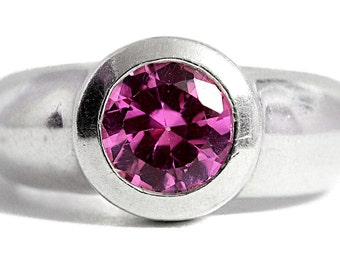Sapphire Ring Pink 925 Silver