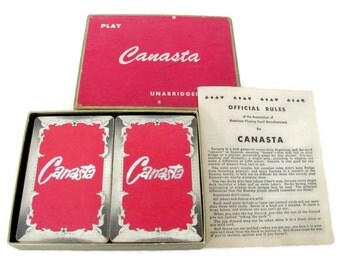 Vintage Playing Cards, Deck of Cards, 1960's Canasta Cards, Game, Mid Century Playing Cards, Vintage Card Game
