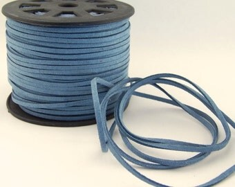 Denim Blue Faux Suede Cord 20 Feet USA Seller