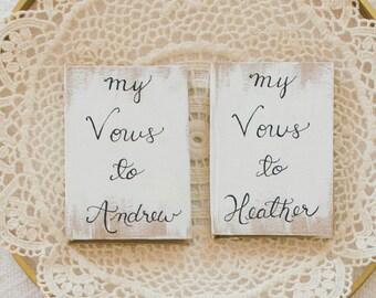 Boho wedding vow books, cottage chic vow books, personalized vow books, wedding vows keepsake, shabby chic wedding ceremony, set of 2