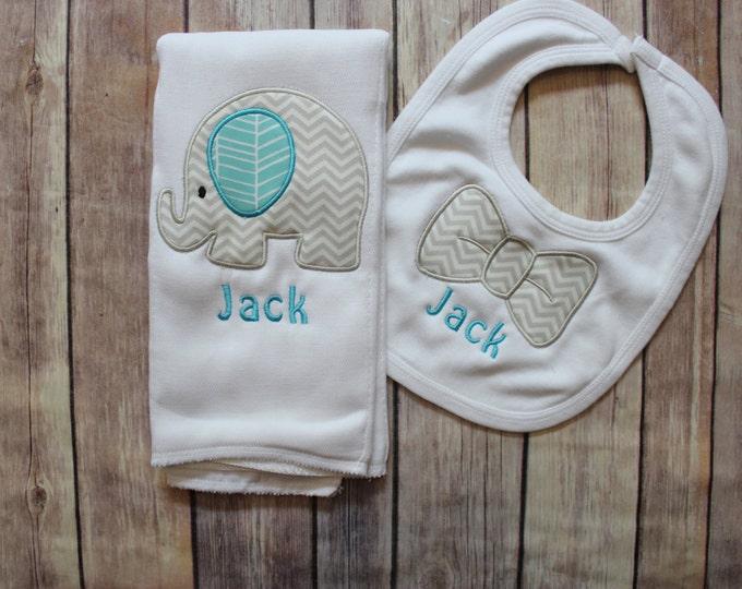 Baby Boy Elephant Burp Cloth Set - Monogrammed Elephant Burp Cloth and Bowtie Bib - Chevron Elephant Baby Gift - Personalized Baby Boy Gift