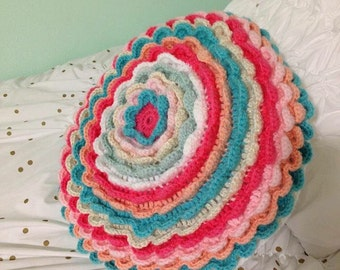 Frilly Crocheted Pillow