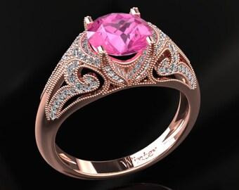 Pink Sapphire Engagement Ring Pink Sapphire Ring 14k or 18k Black Gold VS1PKR