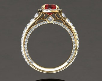 Ruby Engagement Halo Ring Ruby Ring 14k or 18k Yellow Gold VS2RUBYY