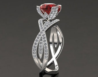 Ruby Engagement Ring Ruby Ring 14k or 18k White Gold SW4RUBYW