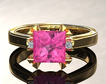 Pink Sapphire Engagement Ring Princess Cut Pink Sapphire Ring 14k or 18k Yellow Gold Matching Wedding Band Available W27PKY