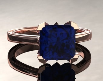 Blue Sapphire Engagement Ring Princess Cut Blue Sapphire Ring 14k or 18k Rose Gold Matching Wedding Band Available SW17BUR