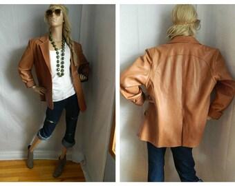 Vintage Beige Leather Blazer Jacket Size XL