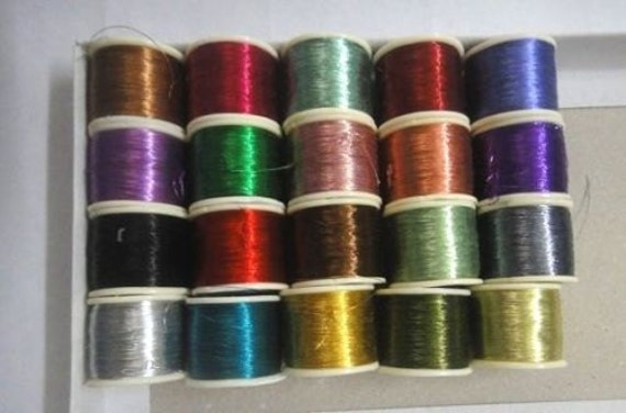 20 Spools of Metallic Thread for Crochet and Embroidery Work
