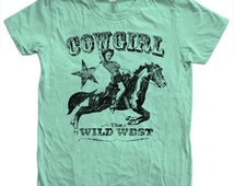 SUMMER SALE COWGIRL T shirt  Hand Screen Printed American Apparel Crew Neck Tshirt