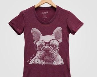 FRENCH BULLDOG Shirt Women Screen Print Tri-Blend Short Sleeve Tshirt Available: S, M, L, XL