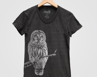 OWL Shirt Women Custom Hand Screen Printed on American Apparel Tri-Blend Short Sleeve Tshirt