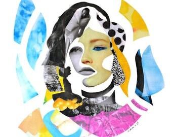 SALE Original painting - Canvas art - Modern painting - Collage on canvas - Contemporary painting - Collage art - Wall art - Surrealism art.