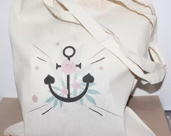 Tote bag anchor and floral