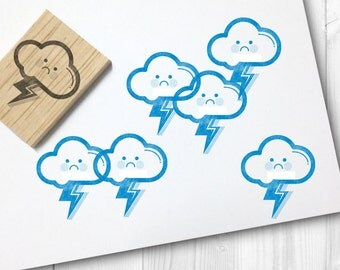 lightning/ angry cloud rubber stamp - FREE SHIPPING WORLDWIDE*