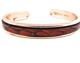 Bracelet jonc cuir serpent marron