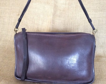 Genuine vintage COACH brown leather shoulder bag and clutch