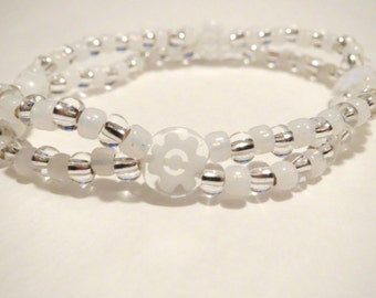 Crystal Clear Double Strand Bracelet made from Millefiori beads, Seed Beads and stretch cord. White seed beads, clear seed beads