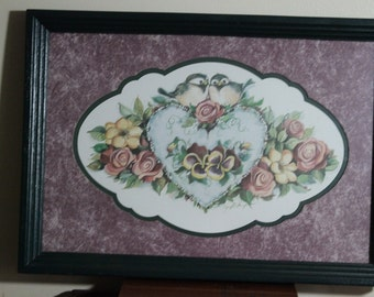 Home Interiors Homco Birds Heart Roses Print - 13 1/2 x 18 3/4 in