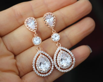 long wedding earrings rose gold earring bridal rose gold earring wedding jewelry bridal jewelry