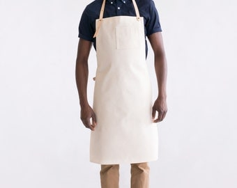 Dahls canvas apron. Natural cotton and veg-tan leather. Handmade, Montreal, Qc