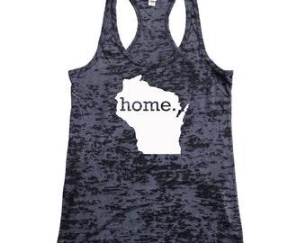 Wisconsin Home Burnout Racerback Tank Top - Women's Workout Tank Top