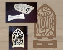 Love with scrollwork and arch - scroll saw pattern - SVG