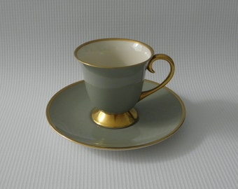 Footed Demitasse Cup & Saucer Set in Sylvan Teal Green with Gold rim by Flintridge