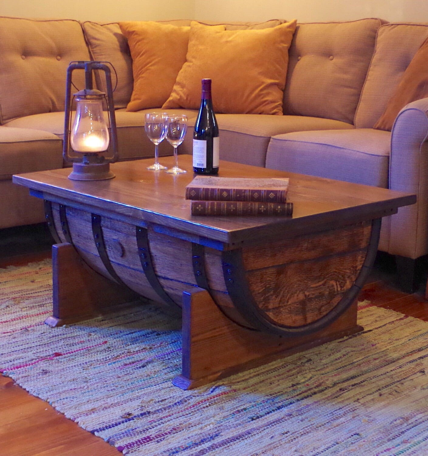 whiskey barrel coffee table with storage reclaimed oak cask. Black Bedroom Furniture Sets. Home Design Ideas