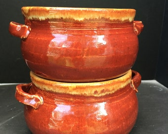 Soup bowls crocks set of two with handles wheel thrown handmade french onion soup rustic red ramekin