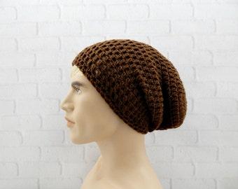 Mens Slouchy Beanie, Mens Winter Hat, BROWN Beanie Hat, Skater Hat, Baggy Beanie, Slouchy Mens Hat, Oversized Cap, Brown Crochet Hat