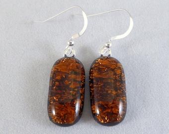 Amber Dichroic Glass Dangle Earrings, Amber, Fused Glass, Fused Glass Earrings, Glass Earrings, Dichroic Earrings,Dangle Earrings