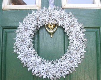 Silver Wreath of Glitter Snowflakes for Christmas or Hanukah -  Silver White Wreath - Holiday Decoration Home Decor - Winter Wonderland