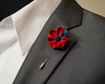 Red Apple Flower with Blue Leaf Kanzashi Lapel Pin with Blue Coral, Lapel Flower Pin