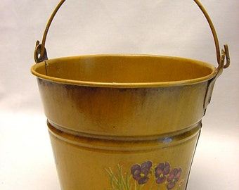 Cute Tole Smith Bucket Small Painted Transfer Pattern Flowers Butterfly Decorative