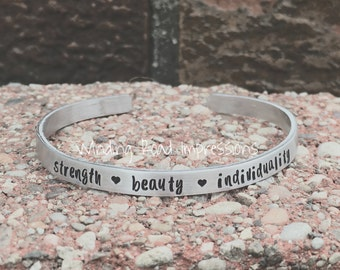 Individuality- Personalized Hand Stamped Thin Cuff Bracelet