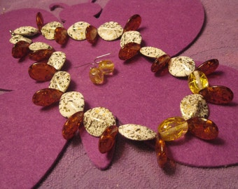 OVAL BEAD with AMBER Resin Teardrops